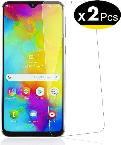 NEWC 2 Unidades, Protector de Pantalla para Samsung Galaxy M20, Galaxy M10 Vidrio Cristal Templado: Amazon.es: Electrónica