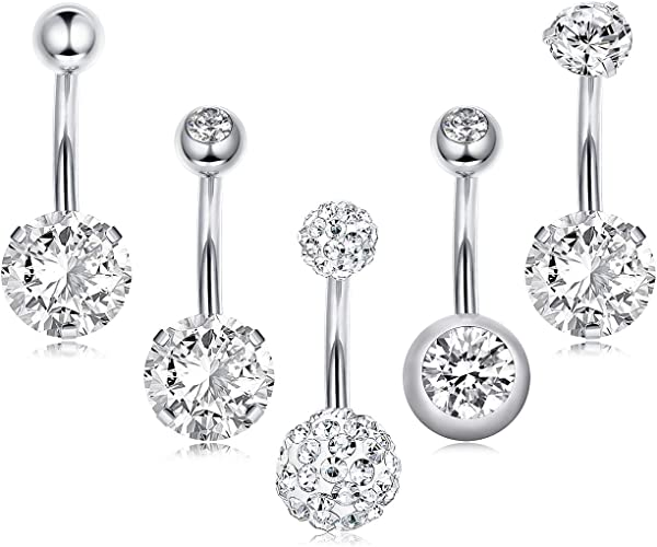 Stainless Steel Navel Rings Crystal Belly Button Ring Bar Piercing Jewelry