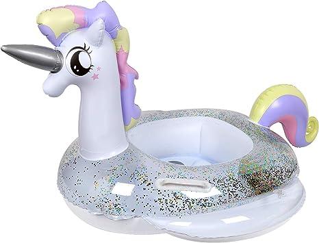 CaLeQi Flotador de Piscina Inflable de Unicornio con Brillos Salón de Agua al Aire Libre Balsa Inflable para Flotar, Flotadores de Playa Divertidos, Juguetes para la Piscina: Amazon.es: Juguetes y juegos