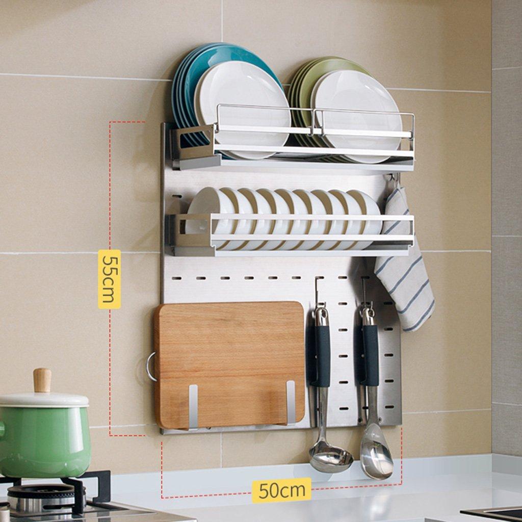 Package 6 LXLA- 304 Stainless Steel Kitchen Shelves Wall-Mounted Drain Dish Rack Seasoning Supplies Storage Rack  Hanging Hook  Multifunctional  Shelf Organizer 55  50cm (color   Package 1)
