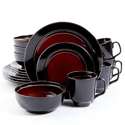 Bella Galleria 16 Piece Dinnerware Set Red/Black  sc 1 st  Amazon.com & Amazon.com | Bella Galleria 16 Piece Dinnerware Set Red/Black ...