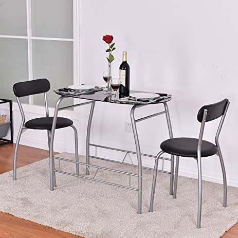 Bon 3 Piece Black Gray Metal Glass Small Space Dining Set Table Chairs Modern  Dining