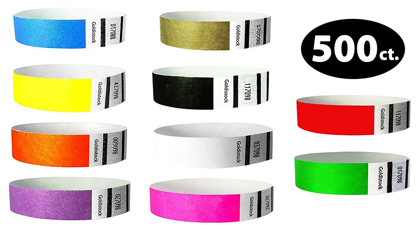 Goldistock 3/4'' Tyvek Wristbands Top Ten Variety Pack 500 Ct. (50 Each): Neon :Green, Blue, Red, Yellow, Orange, Pink, Purple, Metallic Gold, Black, White - Event ID Bands (Paper - Like Texture)