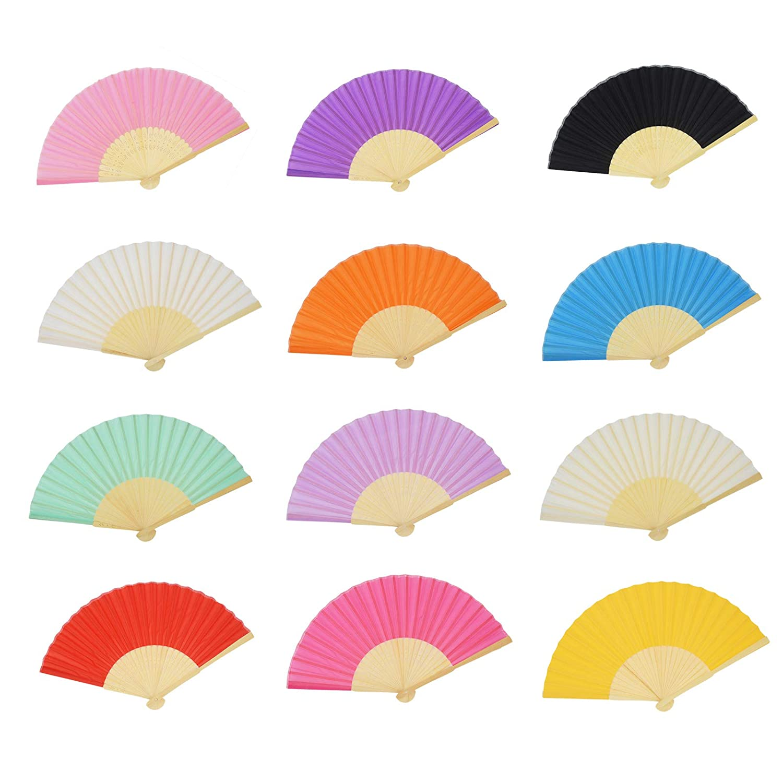 Aloddy 12 Pack Silk Folding Fan Bamboo Handheld Fans Silk Folded Fans Home Decoration 12 Colors DIY Decoration Wedding