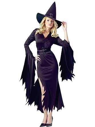 b8d052d142b Amazon.com: Sexy High Leg Slit Black Witch Costume Dress Flame-Cut ...