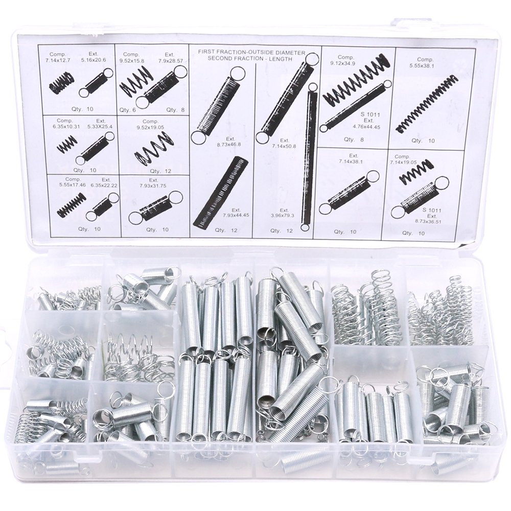 Glarks 200Pcs Zinc Plated Extension and Compression Industry Spring Assortment Kit