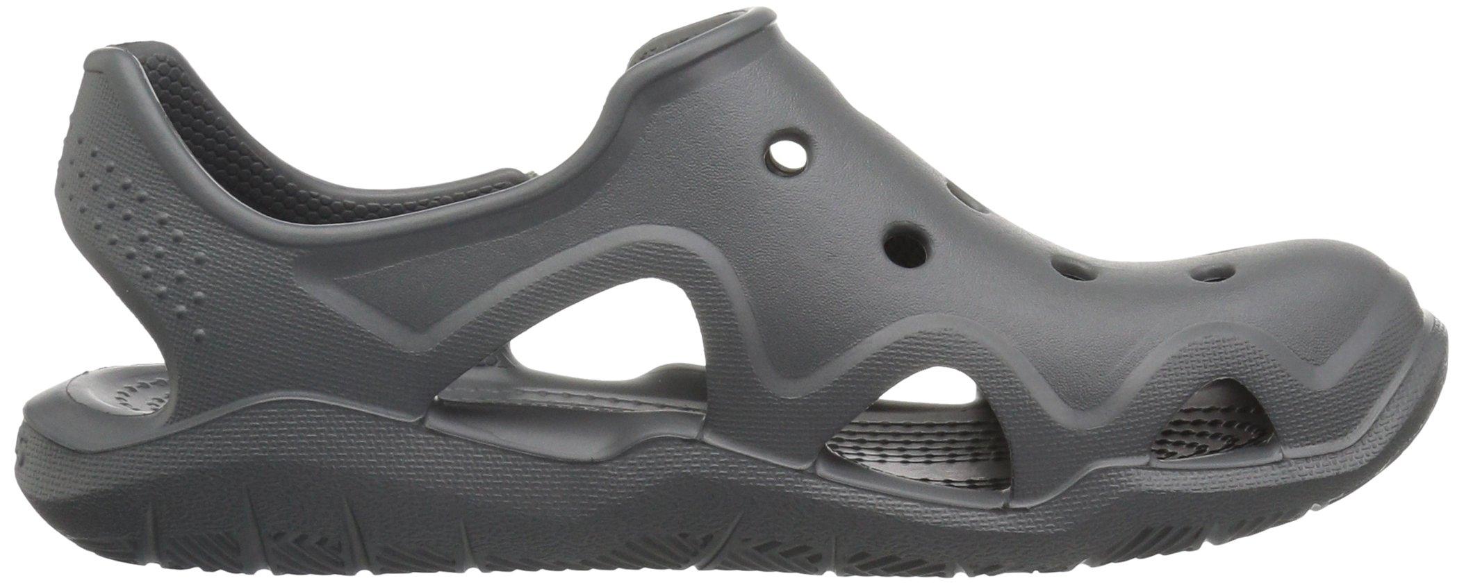 Crocs Unisex-Kids Swiftwater Wave Flat Sandal, Slate Grey/Tennis Ball Green, 13 M US Little Kid by Crocs (Image #7)