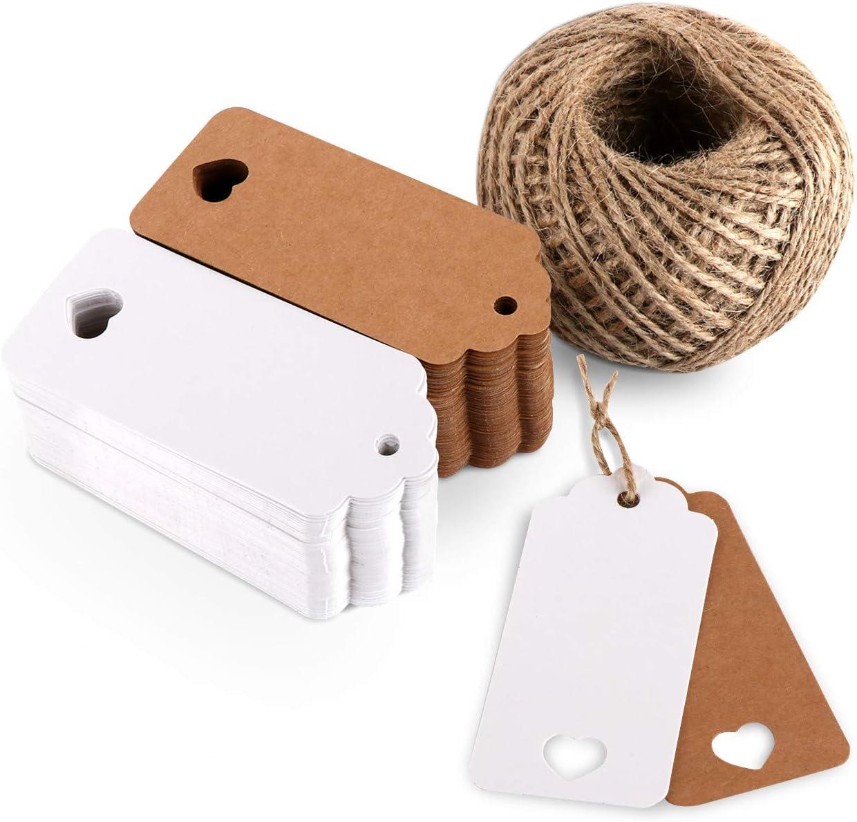 Etiquetas de regalo de etiquetas de papel Etiquetas de boda de 60 metros Cuerda de yute, favor de boda Forma de corazón redonda marrón blanco (200pack)