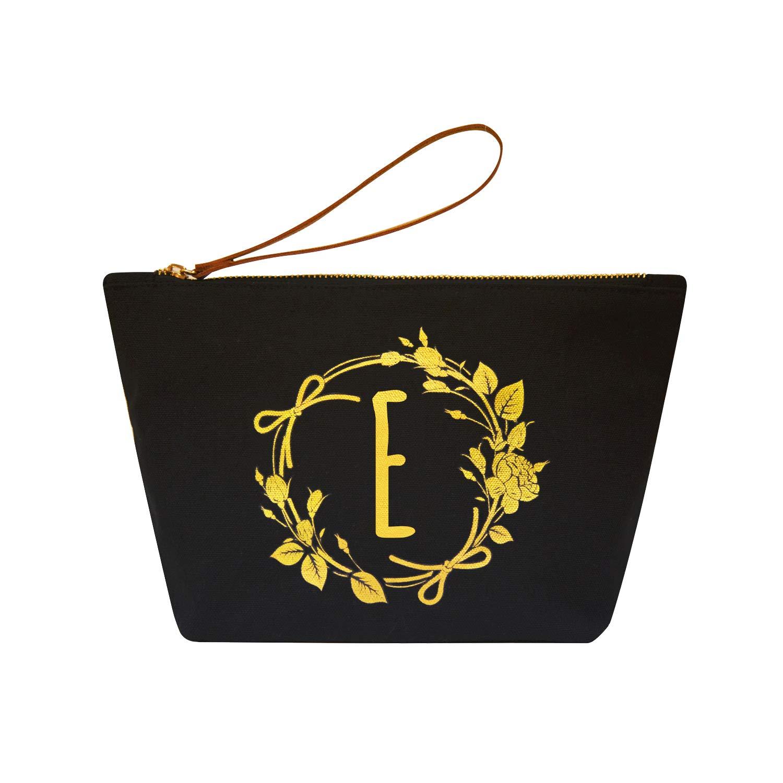 ElegantPark E Initial Monogram Personalized Travel Makeup Cosmetic Bag Wristlet Pouch Gifts Black with Zipper Canvas