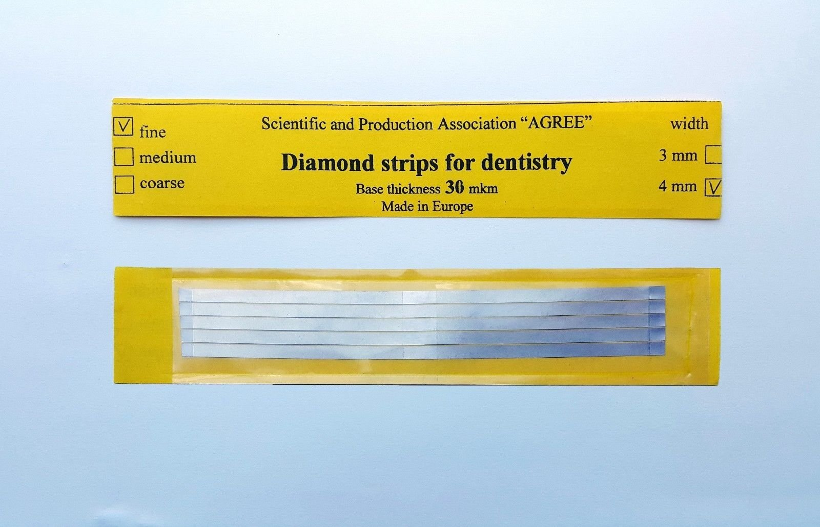 Dental Abrasive STAINLESS STEEL Strips finishing polishing 4mm Fine 5pcs