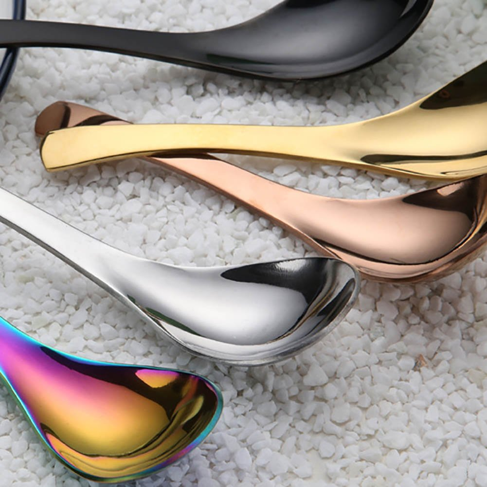 MaiYi Rainbow Stainless Steel Soup Spoon Mixing Drinking Tools Metal Big Dessert Chinese Asian Soup Table Spoons