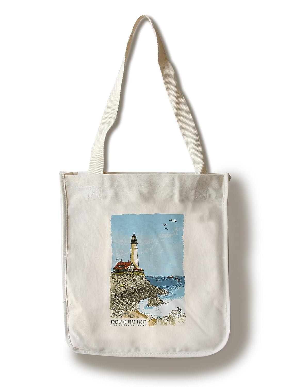ポートランドヘッド灯台、メイン州 – Line図面 Canvas Tote Bag LANT-80507-TT Canvas Tote Bag  B072M3VDNT