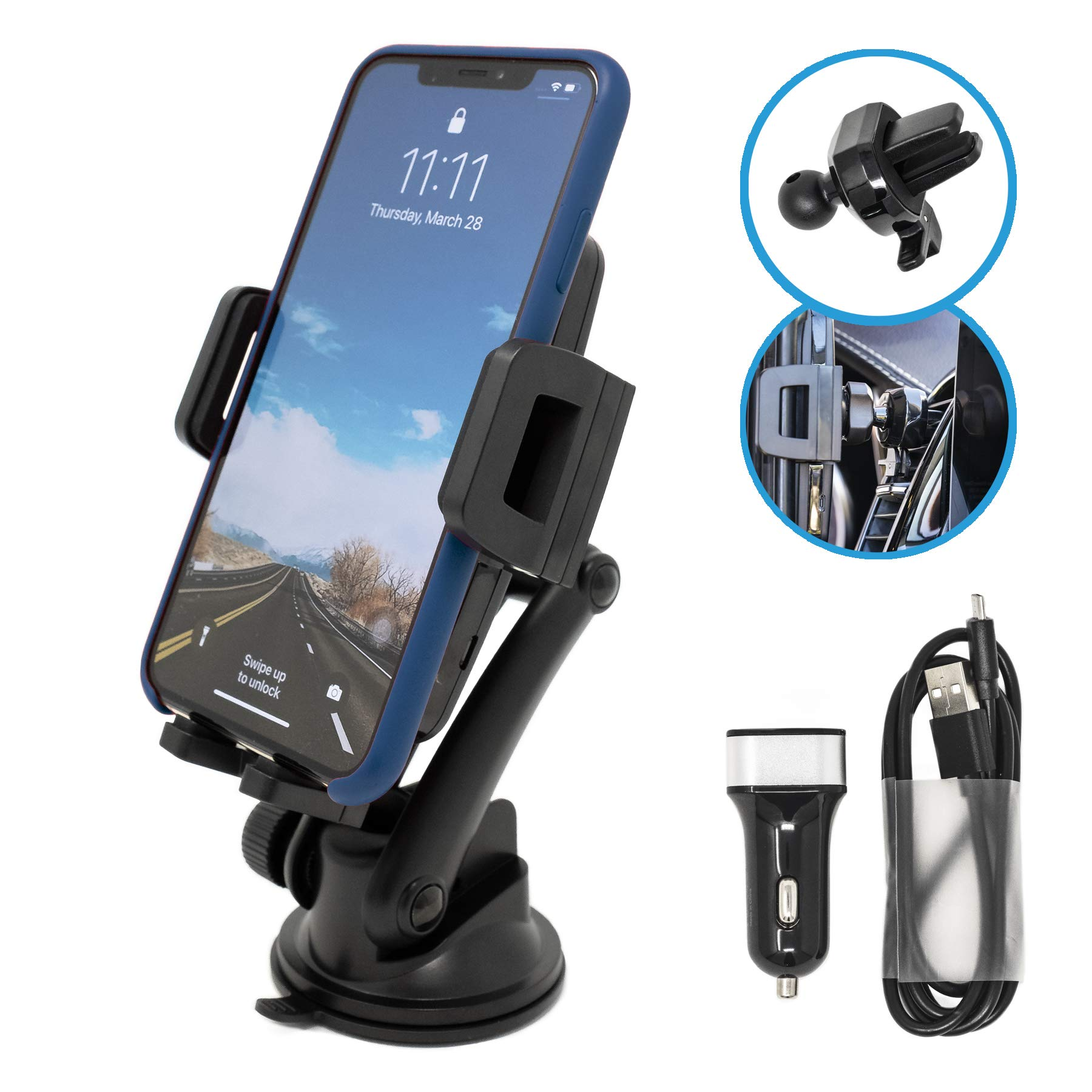 Opentron Wireless Car Charger Car Mount Air Vent Phone Holder, Fast Charging, QI Certified, 5W/7.5W/10W for iPhone Xs/Xs Max/XR/X/ 8/8 Plus, Samsung Galaxy S10 /S10+/S9 /S9+/S8 /S8+ by opentron