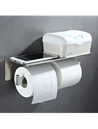 double toilet paper holder angle simple sus304 stainless steel bathroom tissue holder with phone shelf