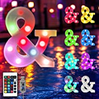 Oycbuzo 16 Color Changing Marquee Letter Light,Light Up Colorful 26 Alphabet Signs- Battery Operated LED Remote Timer…