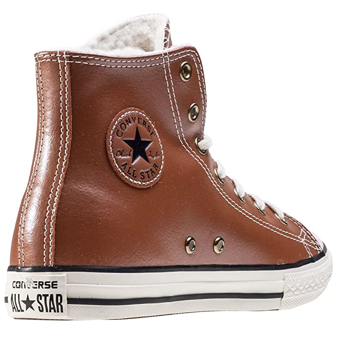 Converse Chuck Taylor All Star High Leather bambini Sneaker marrone, Antique Sepia, K12 UK