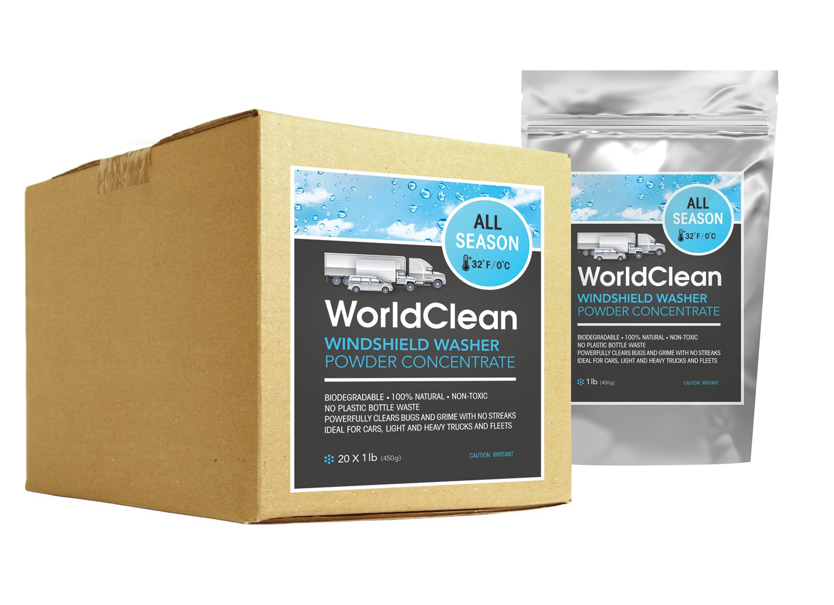 WorldClean biodegradable windshield washer powder concentrate 20packs of 1lb (yields 1100gal) by WorldCleanShop