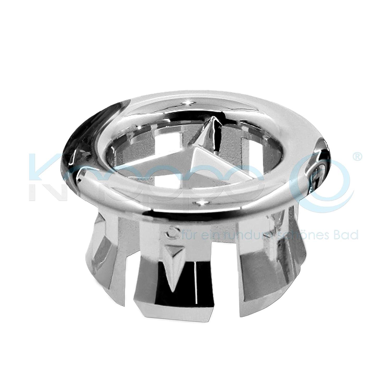 KNOPPO® Waschbecken Überlauf Abdeckung, Überlaufblende - Star (6 verschiedene Design-Modelle) chrom