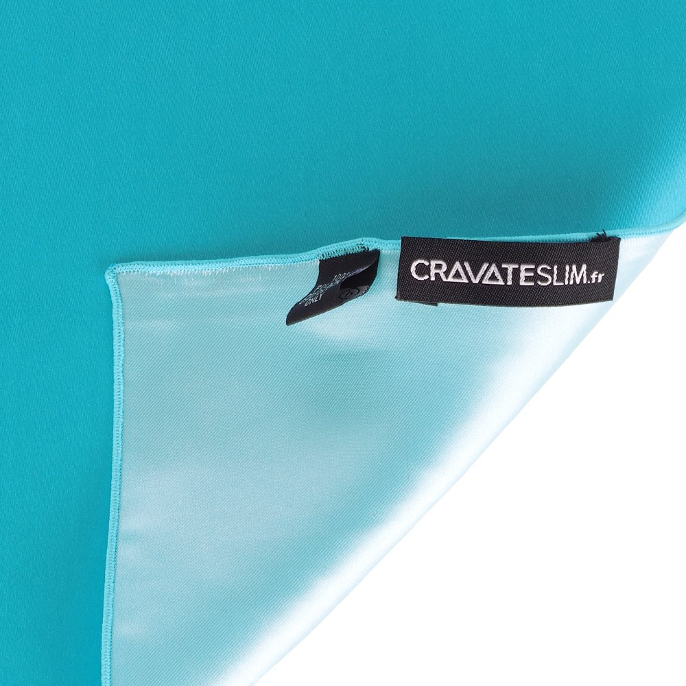Mouchoir de poche cravateSlim Pochette Costume Bleu turquoise Premium Mariage