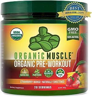 Organic Pre Workout Powder– Natural Vegan Keto Pre-Workout & Organic Energy Supplement for Men & Women- Non-GMO, Paleo, Plant Based – Strawberry Mango- 160g