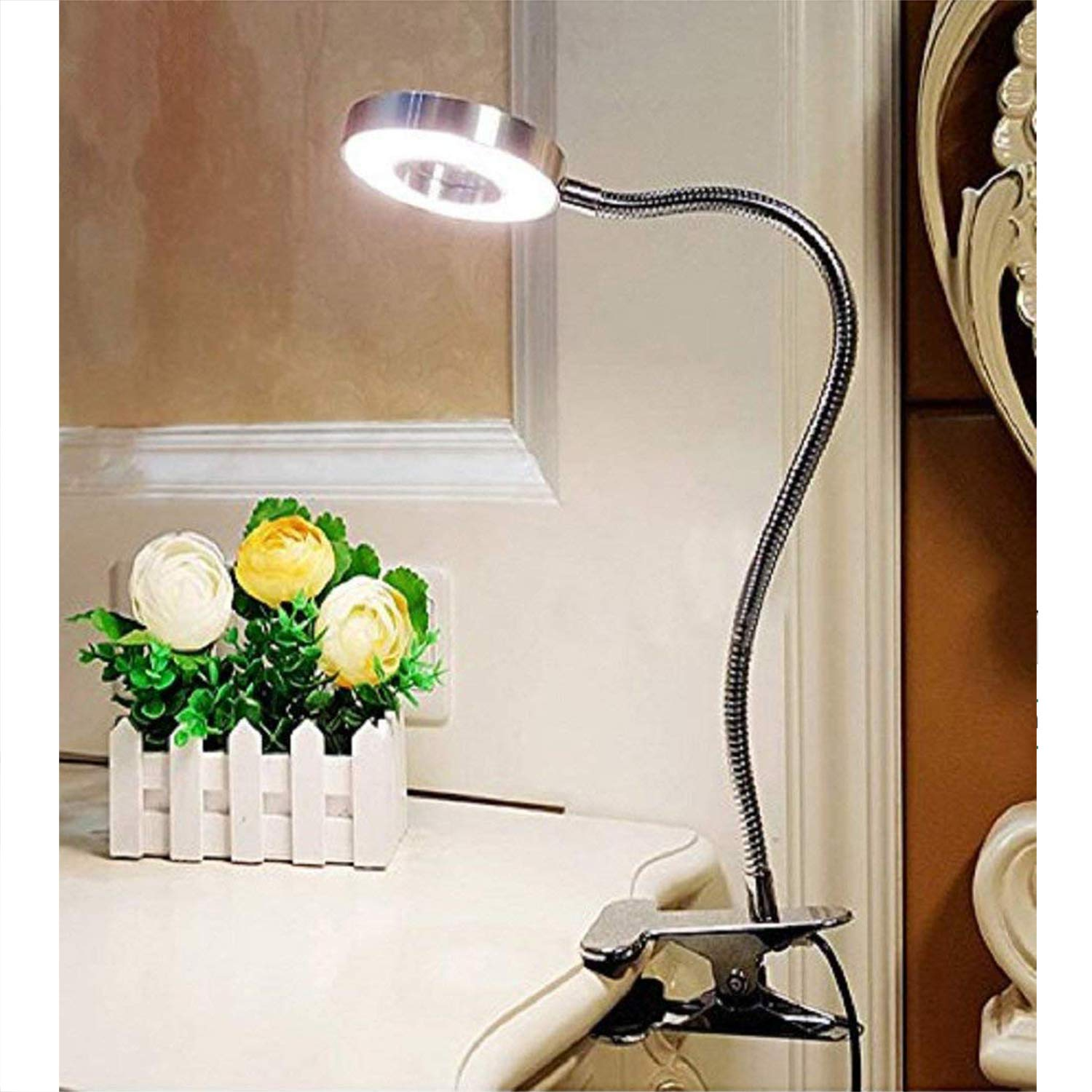 Kids Desk Lamp Eye Protection EFGS 6W LED USB Clip On Reading Light For Books Warm /& Cool Light Colour Bedroom With Clamp Book Light For Reading In Bed Silver Kindle