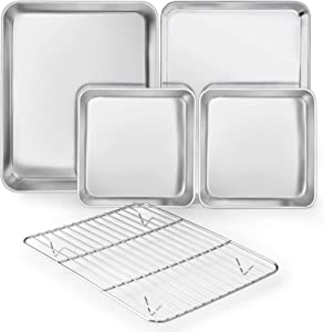 TeamFar Stainless Steel Bakeware Set of 5, Baking Roasting Toaster Oven Pans with Cooling Rack, Lasagna Pan & Square Cake Pan, Healthy & Heavy Duty, Smooth & Dishwasher Safe