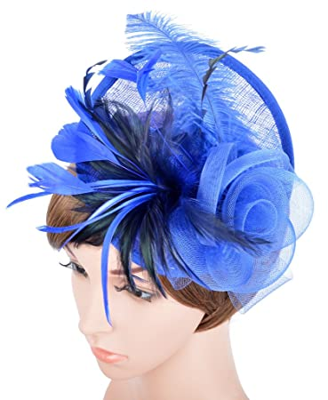 0de3cf5c59f5d Amazon.com  Womens Fascinator Hat with Headband Feather Mesh Flowers ...