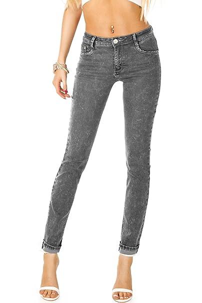 Bestyledberlin Pantalones Jeans de Mujer, Jeans Tubo j240p