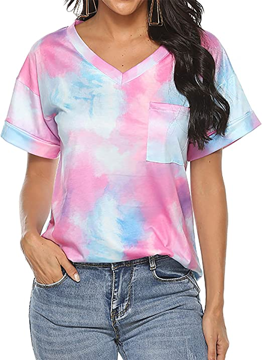 Womens Short Sleeve T Shirt V Neck Loose High Low Tee Shirts LIM/&Shop Tie Dye V Neck Summer Casual Tunic Tops Comfy Green
