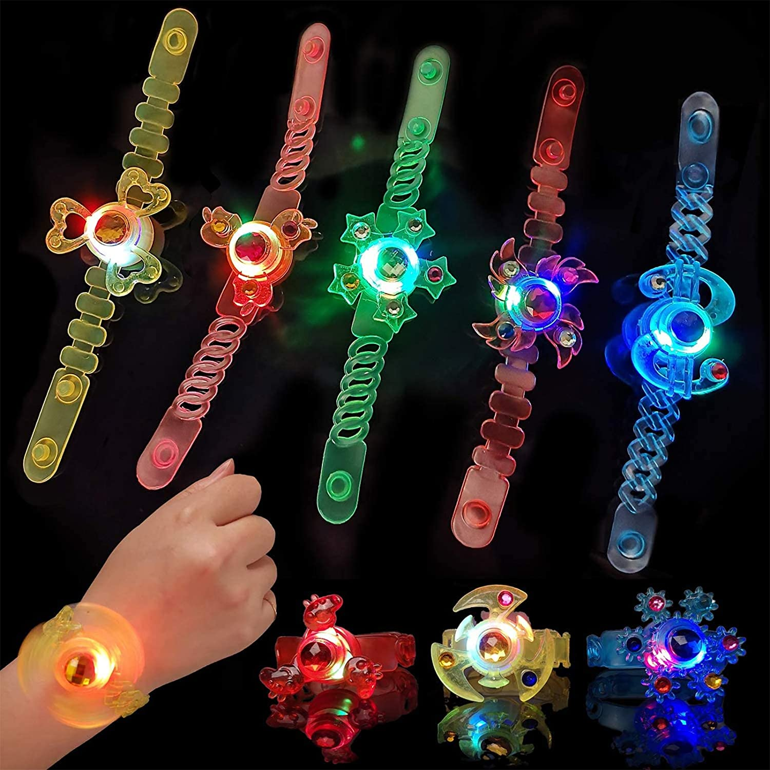 Party Favors for Kids 12 Pcs LED Light Up Bracelets Toys Glow in The Dark Party Supplies,Spin Glow Bracelets Party Birthday Easter Halloween Christmas Supplies