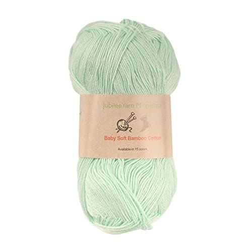 Baby Soft Bamboo Cotton Yarn - JubileeYarn - Green Mint - 4 Skeins