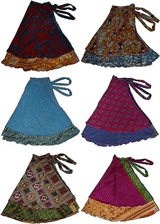 Wevez mujeres de dos capa Magic envoltorio falda/vestido – seda ...