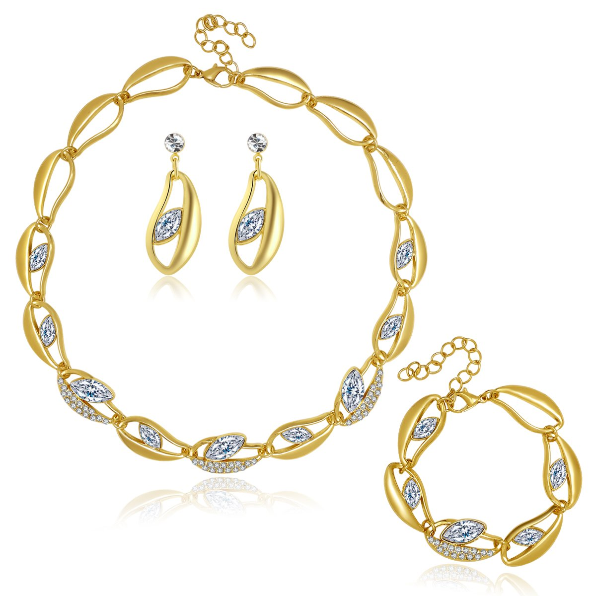 Moochi 18K Gold Plated Oval Beads Chain Necklace Earrings Ring Jewelry Set White