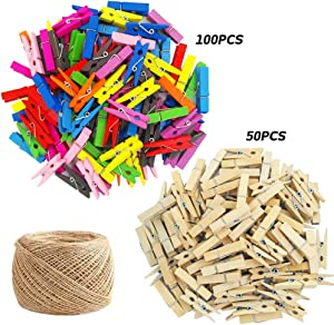 150 Pieces Mini Colored Natural WoodenClips with Jute Twine, findTop Multi-Function Mini Clothespins Photo Paper Peg Pin Craft Clips, Jute Twine- 320 Feet for Home Arts Crafts Decor