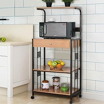 WATERJOY Bakers Rack Microwave Cart, Supreme 3-Tier Rolling Kitchen  Microwave Oven Stand Storage Cart | Power Strip | Brown Metal Frame