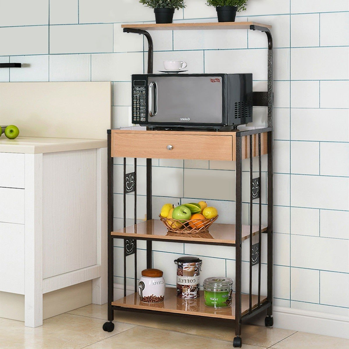 WATERJOY Bakers Rack Microwave Cart, Supreme 3-Tier Rolling Kitchen Microwave Oven Stand Storage Cart | Power Strip | Brown Metal Frame