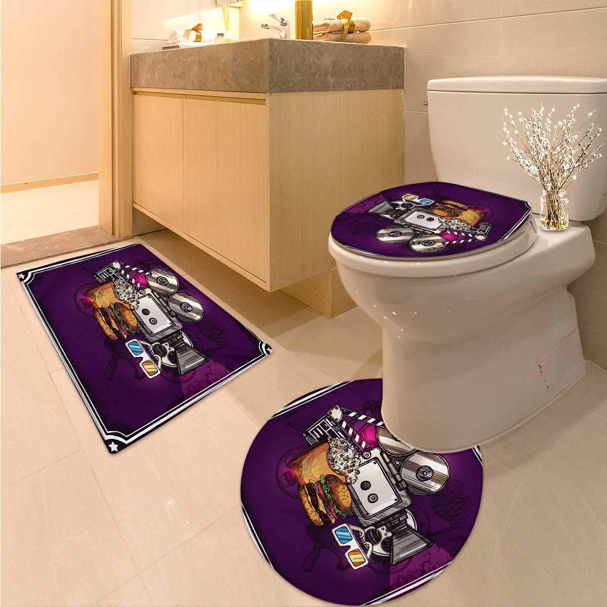 Anhuthree Modern Bath mat and Toilet mat Set Cartoon Like Cinema Movie Image Burgers Popcorns Glasses Watching Film 3 Piece Toilet lid Cover mat Set Purple Earth Yellow