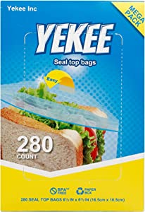 Sandwich Storage Bags Yekee Zipper Bags for Food Storage Sandwich Bags Plastic Wrap for Food Disposable Bag Seal Top Bags for Foods, 280 Count