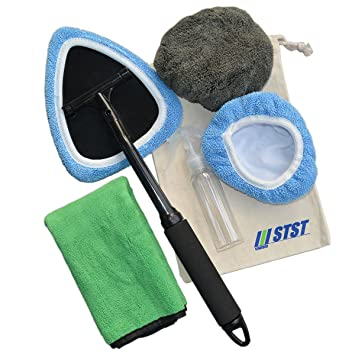 Car Windshield Cleaner Tool Auto Window Truck Boat Windscreen House Glass Interior Exterior Surface Cleaning Kit With 2 Microfiber Bonnets 1 100ml