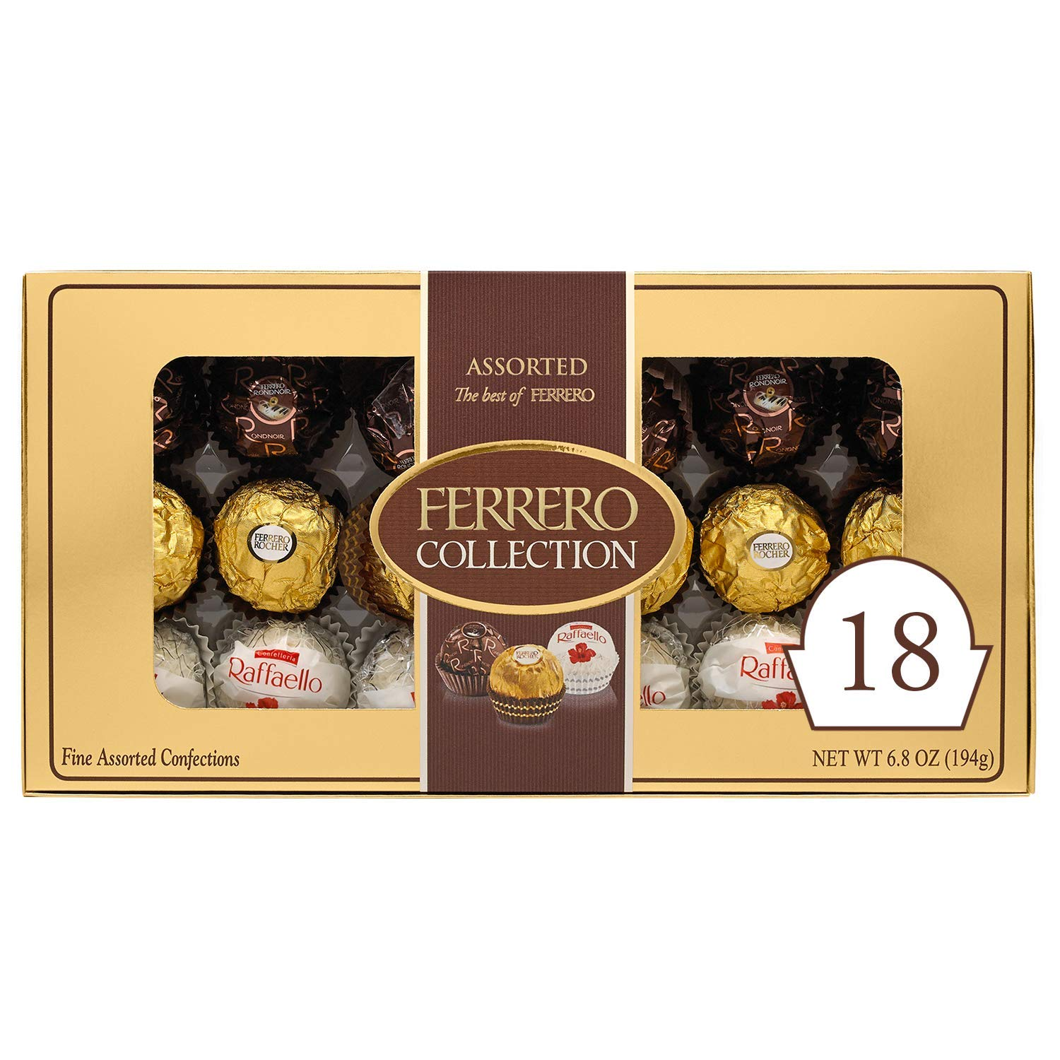 Ferrero Rocher Collection, Fine Hazelnut Milk Chocolates, 18 Count Gift Box, Assorted Coconut Candy and Chocolates, 6.8 oz, Perfect Easter Egg and Basket Stuffers