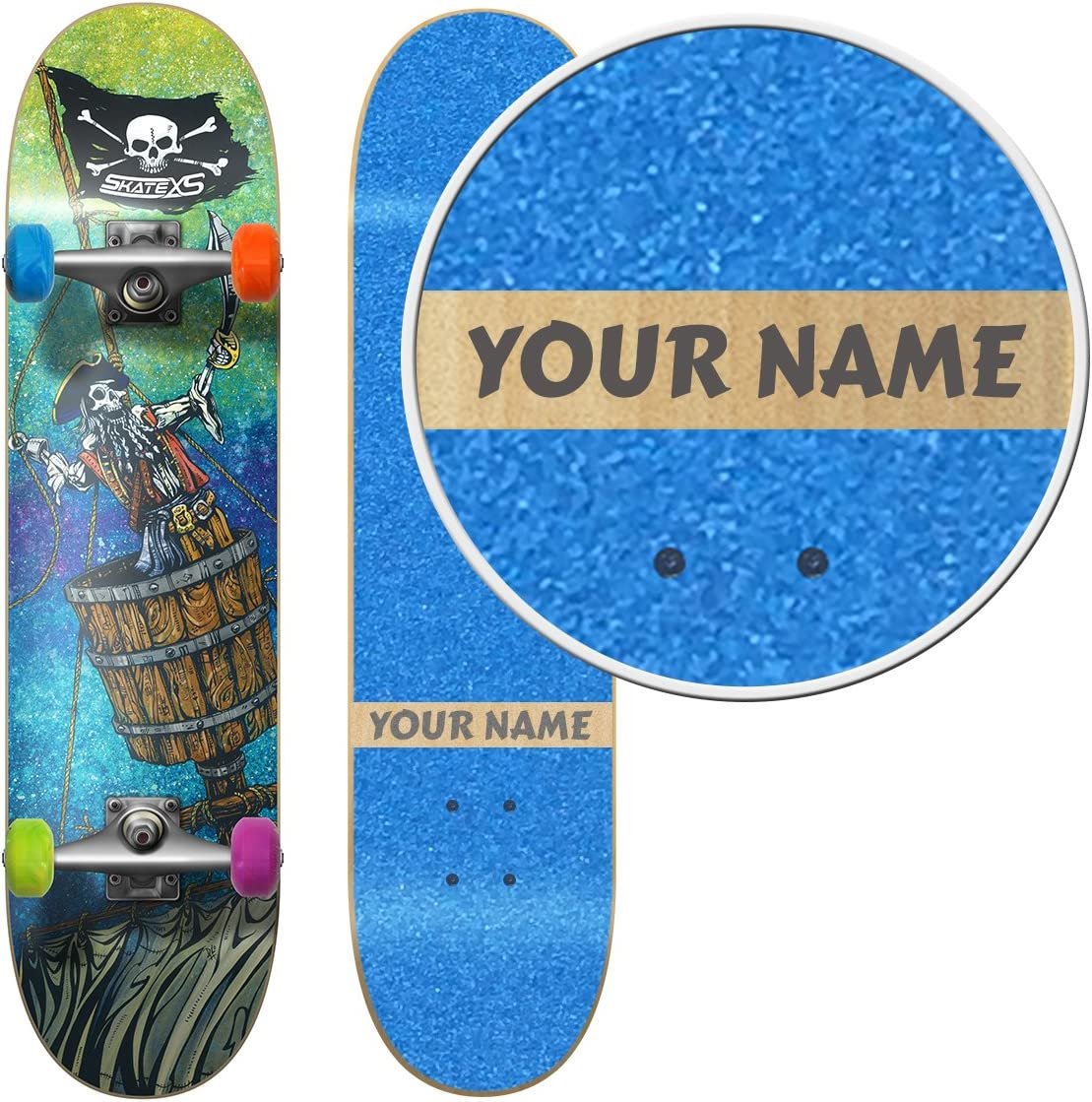 SkateXS Personalized Beginner Pirate Street Skateboard