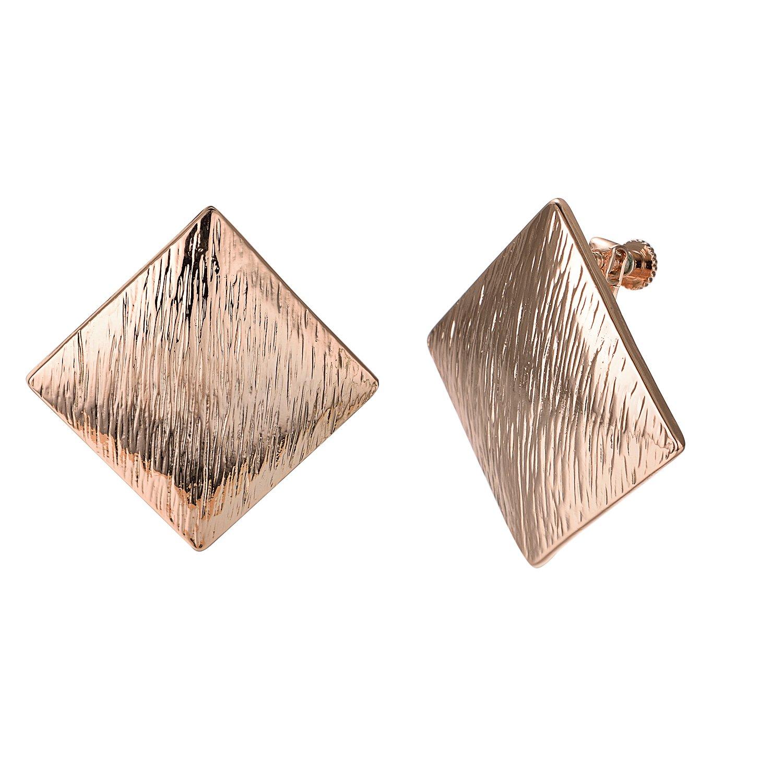 Yoursfs Vintage Earrings 1980s Big Earrings Waved Gold Metal Clip-On Earrings