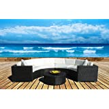 Outdoor Patio Furniture Sofa Sectional Wicker Round Resin Couch Set (T160)