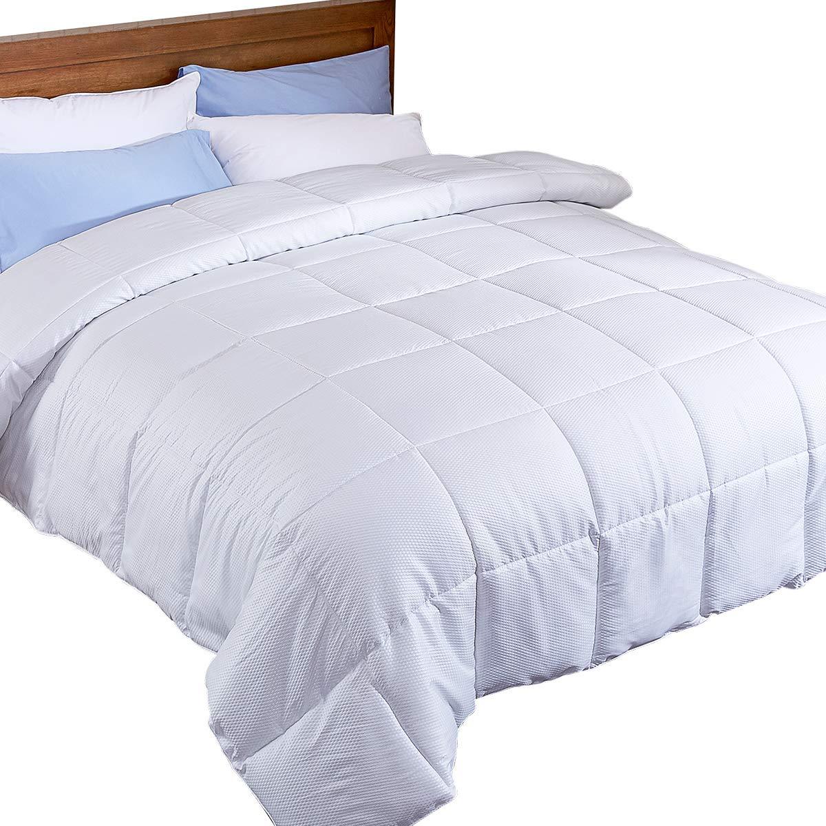 Puredown Alternative Comforter Lightweight White Duvet Insert, Peach Skin Fabric Size, Full/Queen PD-16025-F/Q