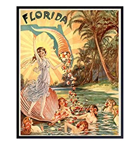 Florida Travel Poster, 8x10 - Vintage Retro Rustic Picture Print for Wall Art Decor, Home, Apartment or Office Decoration, Living Room, Bedroom - Unique Gift for Sunshine State Fans - Unframed Photo