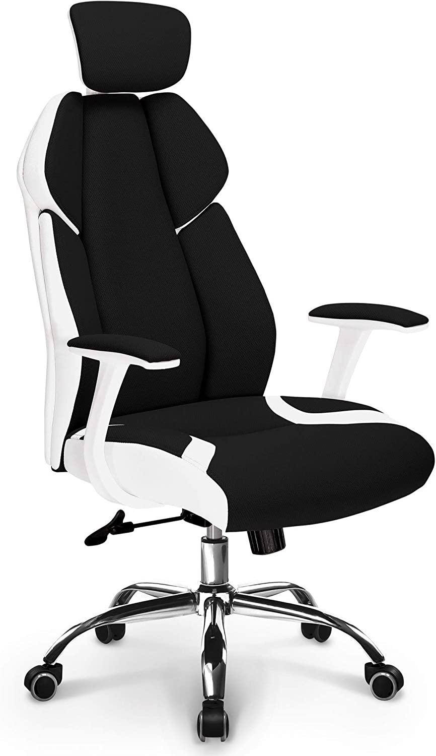 Neo Chair Premium Soft Breathable Fabric Office Gaming Executive Chair Wide Pocket Spring Seat Lumbar Support w//Ergonomic Curved Deign /& Headrest Reclining Adjustable Computer Desk Home Chair