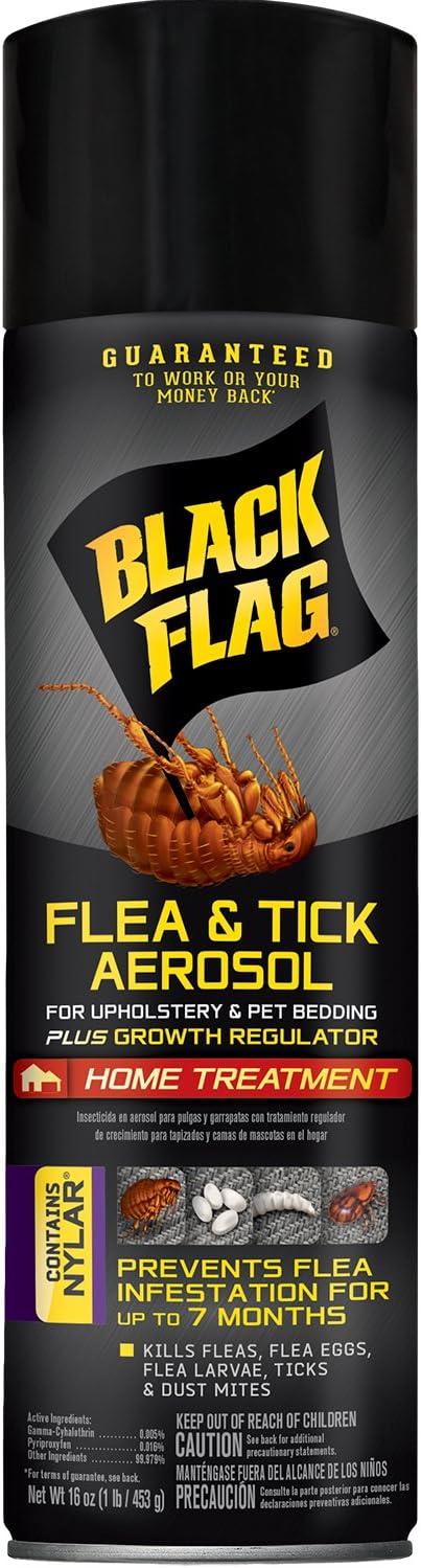 Black Flag Flea & Tick Killer for Upholstery & Pet Bedding Aerosol, 16-Ounce
