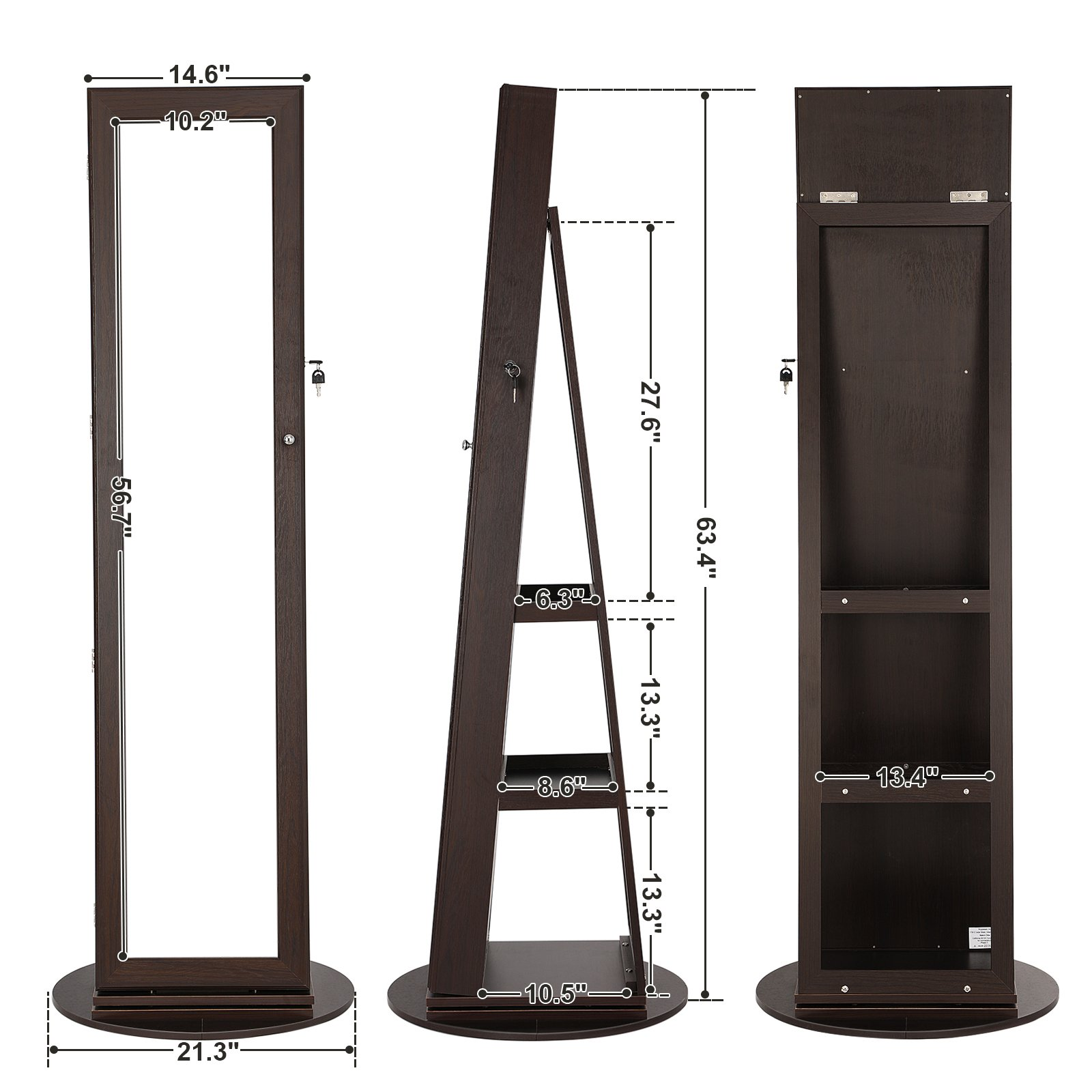 SONGMICS Jewelry Cabinet Armoire 360° Rotatable Higher Mirror, Lockable Jewelry Organizer Mother's Day Gift UJJC62BR by SONGMICS (Image #7)