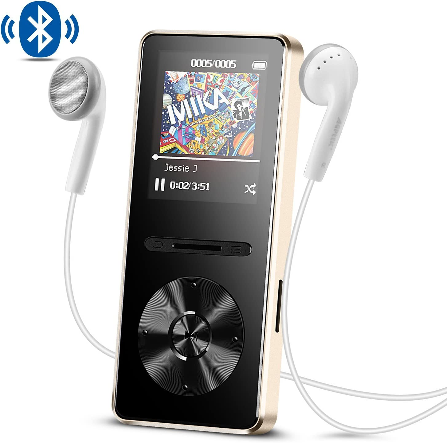 Reproductor Mp3 con Bluetooth 4.0, 8 GB Metal Reproductor de música de Hi-Fi Lossless Sonido con Radio FM, Color Dorado- AGPTEK A29TG