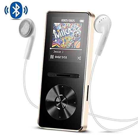 AGPTEK MP3 Player with Bluetooth 4 0, 8 GB Metal Music Player with Lossless  Audio Hi Fi FM Radio, Gold A29TG
